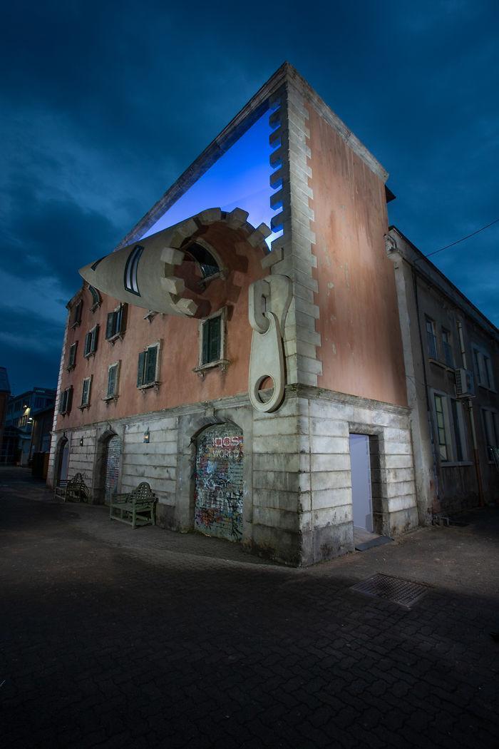 معماری عجیب آقای الکس چینک: دکل واژگون، خانه های در حال وا رفتن، ترک خوردن یا زیپ گشایی