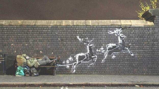 بنکسی از نقاشی دیواری جدیدش رونمایی کرد