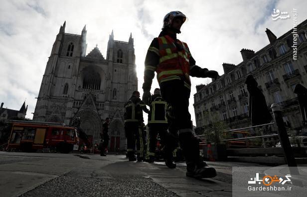 کلیسای جامع نانت فرانسه طعمه حریق شد