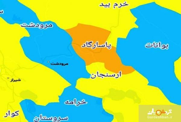 شهرهای ممنوعه برای سفر در استان فارس، نقشه